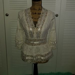 Beautiful detailed white lace blouse